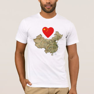 China Flag Heart and Map T-Shirt