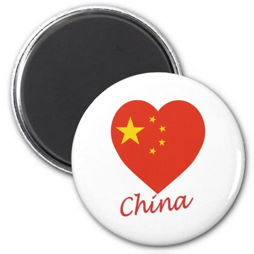 China Flag Heart Magnets