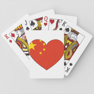 China Flag Heart Playing Cards