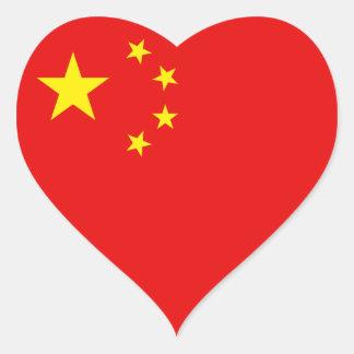 China Flag Heart Sticker