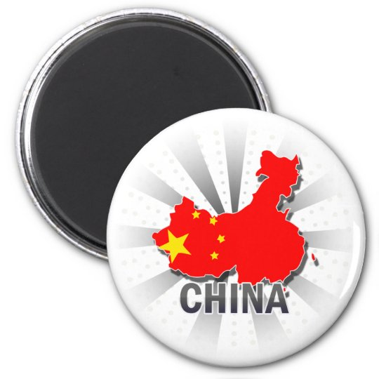 China Flag Map 2.0 6 Cm Round Magnet