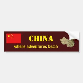 China Flag + Map Bumper Sticker