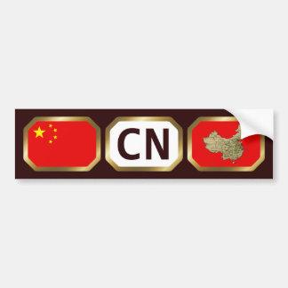 China Flag Map Code Bumper Sticker