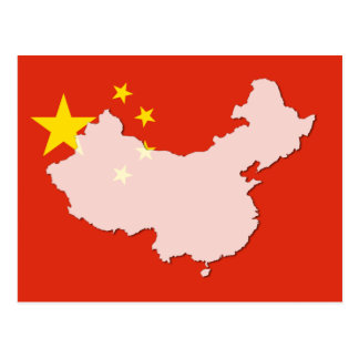 China flag map outline postcard