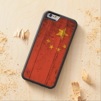 China Flag on Old Wood Grain Carved Maple iPhone 6 Bumper Case