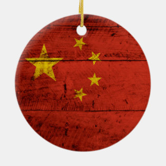 China Flag on Old Wood Grain Christmas Ornament