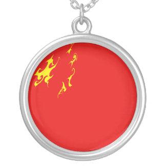 China Gnarly Flag Round Pendant Necklace
