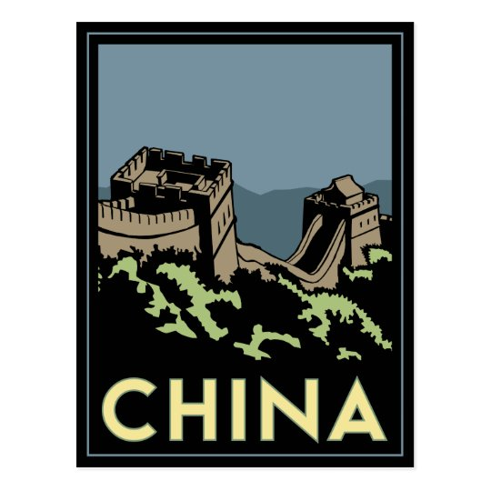 china great wall asia art deco retro travel