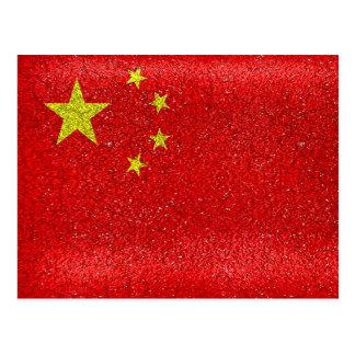 China Grunge Style Flag Postcard