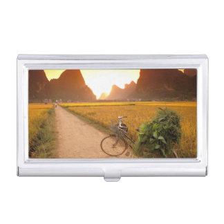 China, Guangxi. Yangzhou, Bicycle on country Business Card Holder