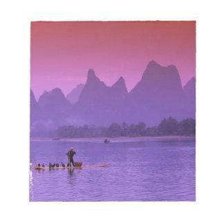 China, Guanxi. Li river single cormorant Notepad