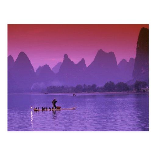 China, Guanxi. Li river single cormorant Postcards