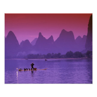 China, Guanxi. Li river single cormorant Poster