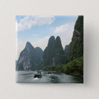 China, Guilin, Li River, River boats line the 15 Cm Square Badge