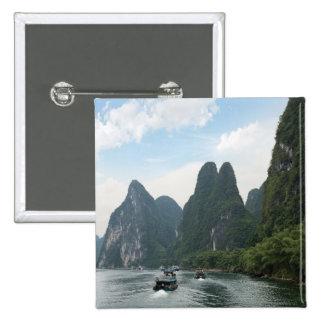China, Guilin, Li River, River boats line the 15 Cm Square Badge
