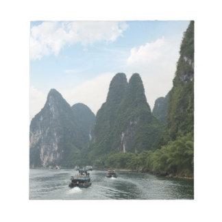 China, Guilin, Li River, River boats line the Notepad