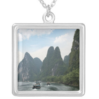 China, Guilin, Li River, River boats line the Silver Plated Necklace