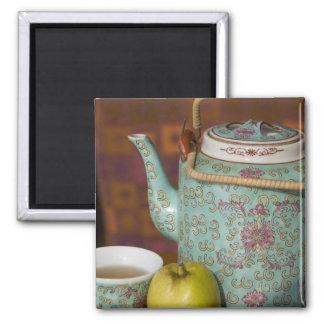 China, Hong Kong. Traditional Chinese teapot & 2 Square Magnet