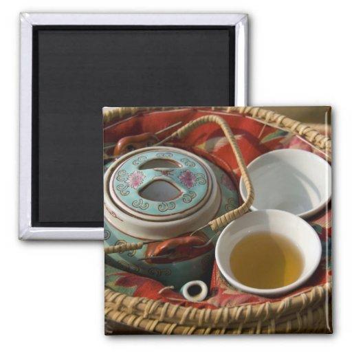 China, Hong Kong. Traditional Chinese teapot & 3 Refrigerator Magnets