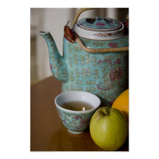China, Hong Kong. Traditional Chinese teapot & Poster