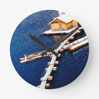 China in winter - House on the lake Round Wallclocks