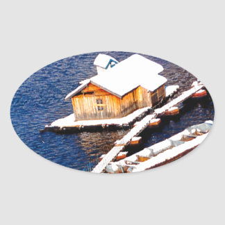 China in winter - House on the lake Oval Sticker