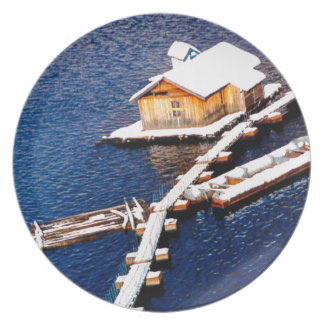 China in winter - House on the lake Dinner Plates