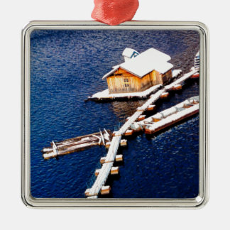 China in winter - House on the lake Silver-Colored Square Decoration