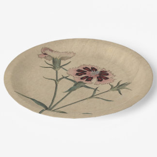 China India Pink Flower Paper Plate