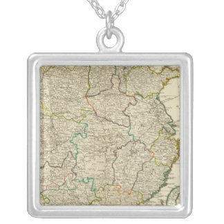 China, Korea atlas map Silver Plated Necklace