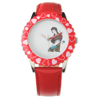 china lady watch  in red