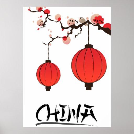 China Lanterns Travel poster print.