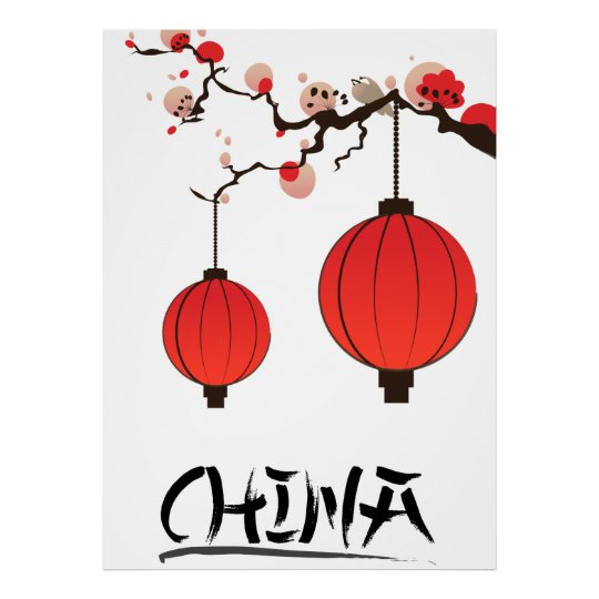 China Lanterns Travel poster print.