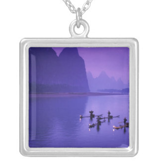 China, Li River. Cormorant fishermen. Silver Plated Necklace