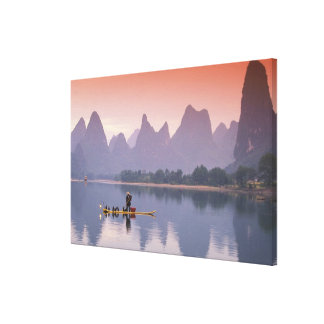 China, Li River. Single cormorant fisherman. Canvas Print