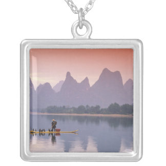 China, Li River. Single cormorant fisherman. Silver Plated Necklace