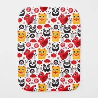 China lucky cat, dragon, and panda burp cloth