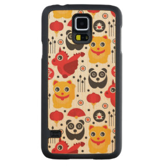 China lucky cat, dragon, and panda carved maple galaxy s5 case