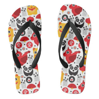 China lucky cat, dragon, and panda flip flops