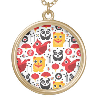 China lucky cat, dragon, and panda gold plated necklace