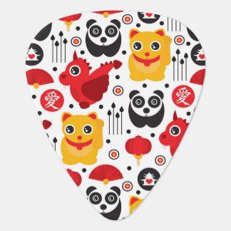China lucky cat, dragon, and panda guitar pick