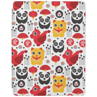 China lucky cat, dragon, and panda iPad cover