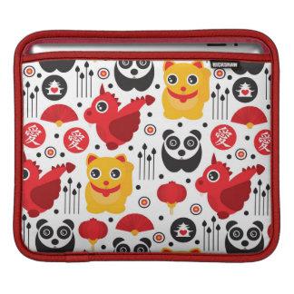 China lucky cat, dragon, and panda iPad sleeve