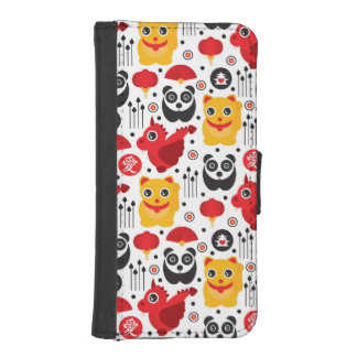 China lucky cat, dragon, and panda iPhone SE/5/5s wallet case