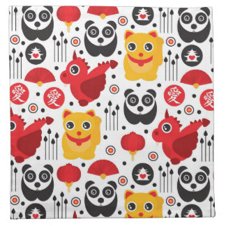 China lucky cat, dragon, and panda napkin