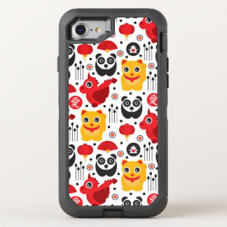 China lucky cat, dragon, and panda OtterBox defender iPhone 8/7 case