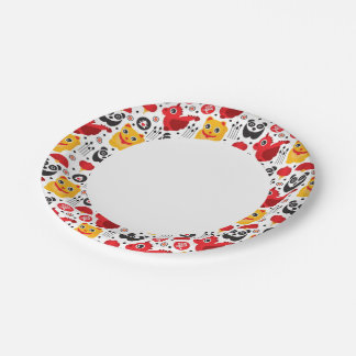 China lucky cat, dragon, and panda paper plate
