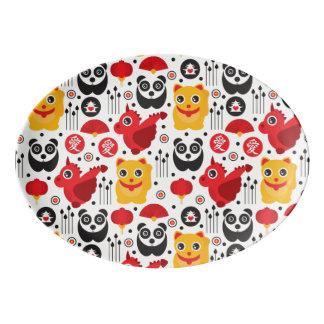 China lucky cat, dragon, and panda porcelain serving platter