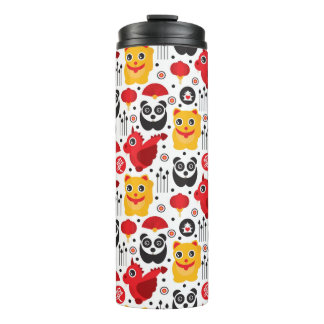 China lucky cat, dragon, and panda thermal tumbler