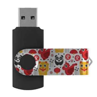 China lucky cat, dragon, and panda USB flash drive